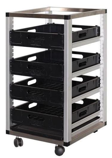 4 Tier Mobile Glass Rack Basket Trolley
