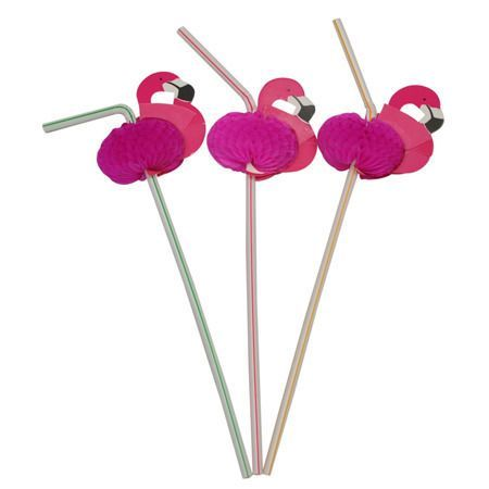 Flamingo Drinking Straws Pack 12