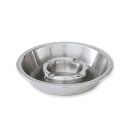 Double Well Stainless Steel Ashtray - 135mm diameter