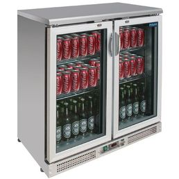 Double Door Bar Display Cooler Stainless Steel 180 Bottles