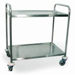 Stainless Steel 2 Shelf Serving Trolley - 710mm x 405mm x 810mm