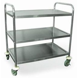 Stainless Steel 3 Shelf Serving Trolley - 710mm x 405mm x 810mm
