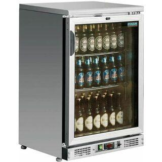 Single Door Bar Display Cooler Stainless Steel 104 Bottles