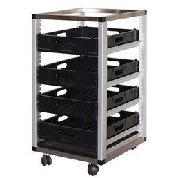 Glass Basket Rack Trolley Single Bay - 4 Basket Capacity