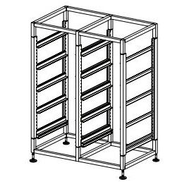 Glass Basket Rack Double Bay - 10 Basket Capacity