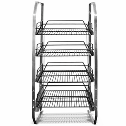 4 Tier Under Bar Glass Basket Rack 4 Bay Kit