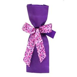 Wine Bottle Gift Bag Woven Purple with Ribbon