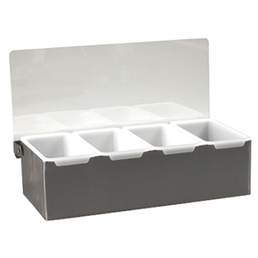 Bar Caddy Condiment Dispenser Tray 4 Section S/S