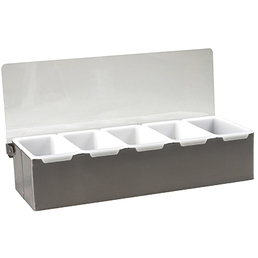 Bar Caddy Condiment Dispenser Tray 5 Section S/S