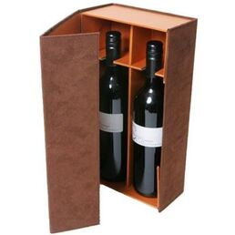 Wine Bottle Gift Box 2 Bottle Brown Suede with Insert