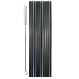 Drinking Straw Metal S/S Black Chrome Pk 10