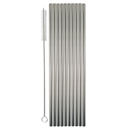Drinking Straw Metal S/S Pk 10