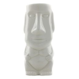 Ceramic Tiki Mug Easter Island White Packs of 1-12