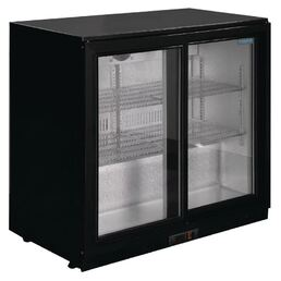Bar Fridge Polar 2 Sliding Door 198 Litre Black