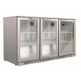 Back Bar Fridge Triple Door 266L Silver
