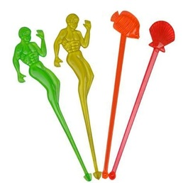 Swizzle Sticks Neon Assorted Styles Pk 100