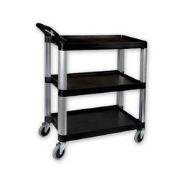 Utility Trolley 3 Shelf Black Plastic - 800 x 380 x 880mm