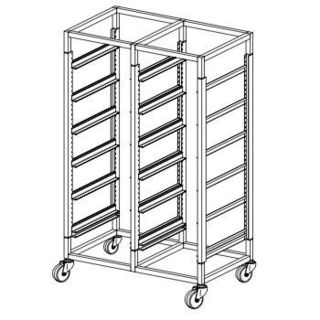 Glass Basket Rack Trolley Double Bay - 12 Basket Capacity