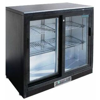 Bar Fridge 2 Sliding Door 210 Litre Black